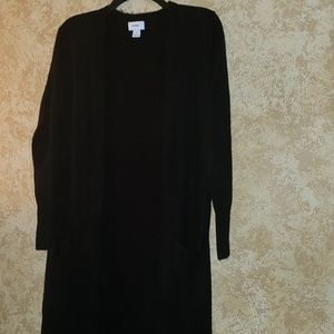 Maxi Open front Cardigan Sweater Pockets Black